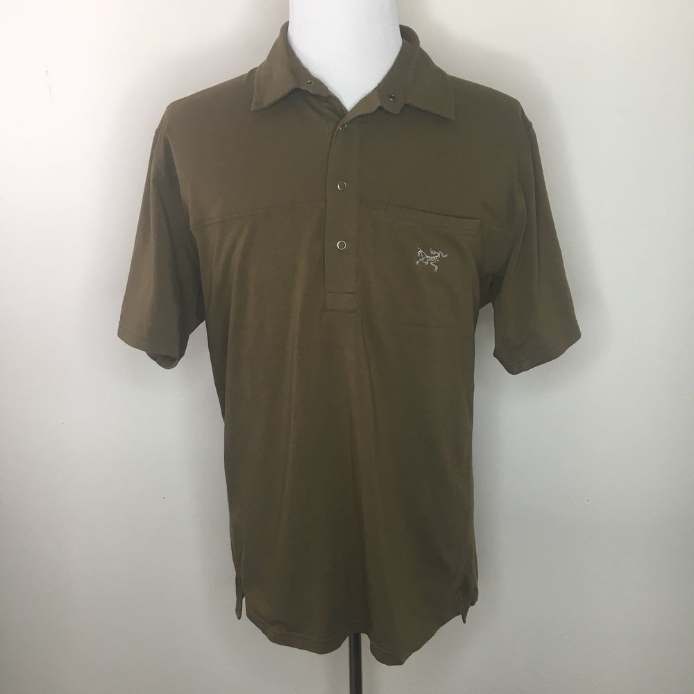 4ea663d0a Arcteryx Mens Xl Polo Shirt Brown Short Sleeve 3 Snap Button  fashion   clothing  shoes  accessories  mensclothing  shirts (ebay link)