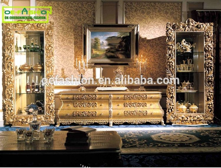 Oe Fashion Luxury Living Room Gold Tv Stand Wood Carving Furniture