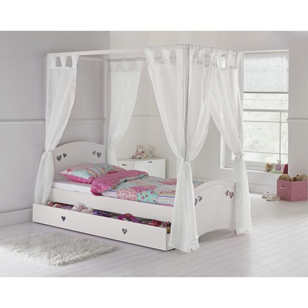 Collection Mia Single 4 Poster Bed Frame White At Argos Co Uk Your Online For Children S Beds Furniture Home And Garden