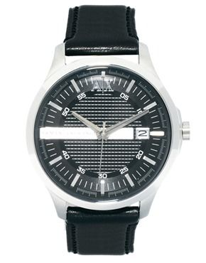 Armani Exchange Black Leather Strap Watch AX2101