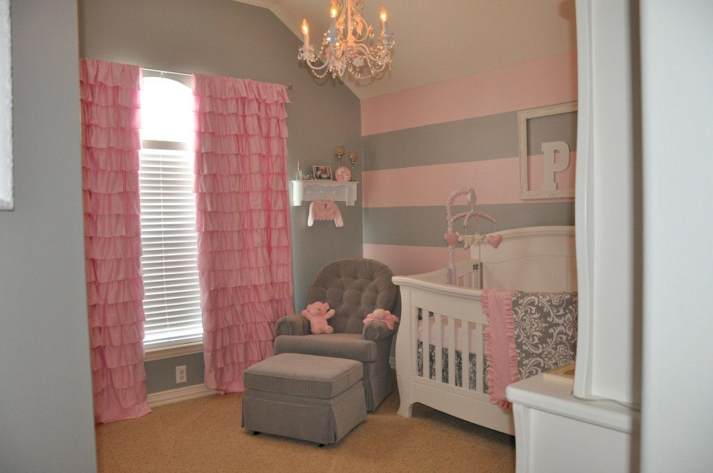 peyton 39 s pink and gray nursery pink striped walls nursery gray and project nursery. Black Bedroom Furniture Sets. Home Design Ideas