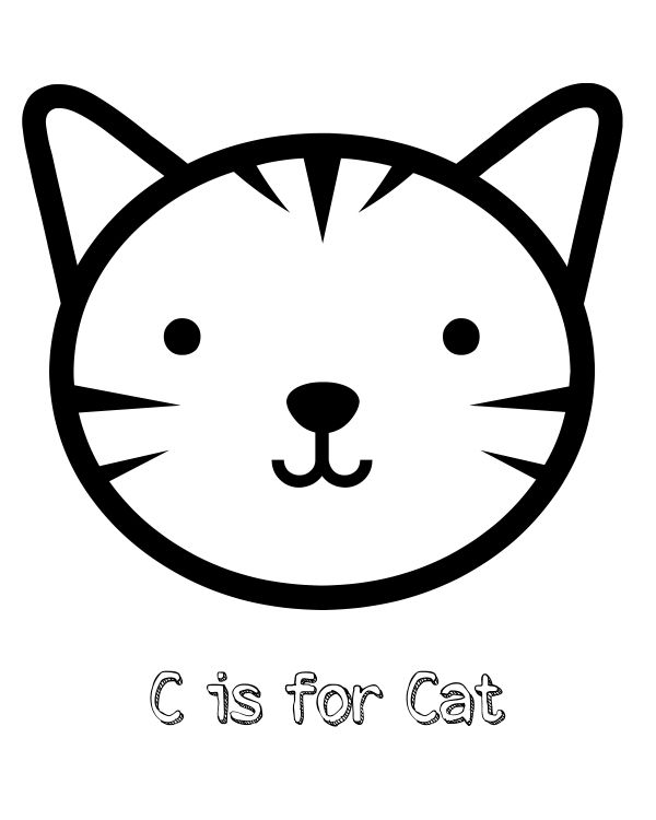 free printable c is for cat coloring page
