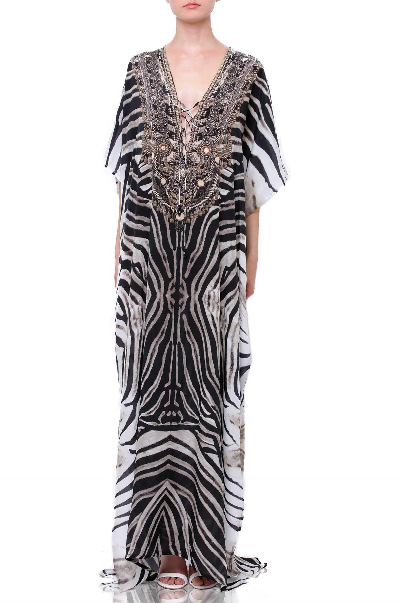 Black and White Printed Long Kaftan Dress in Stripes