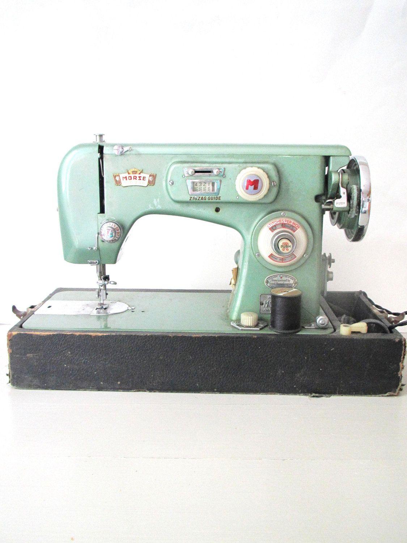 Vintage Sewing Machine- Morse Zig Zag Mint Seafoam Green Metallic ...