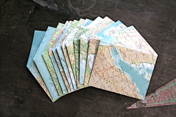 Items similar to Handmade map envelopes from vintage atlas pages, set of 12, 3.5 x 4.5 inches on Etsy
