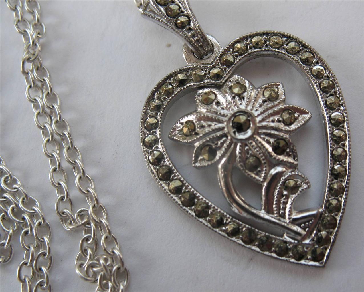 Elegant Vintage Art Deco Sterling Marcasite Heart Flower Pendant Necklace 1920s | eBay