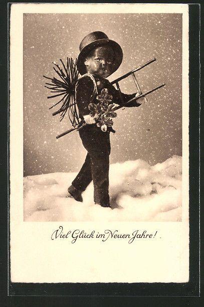 tolle AK Schornsteinfeger mit Glücksklee wünscht ein frohes neues Jahr 1932 in Sammeln & Seltenes, Ansichtskarten, Motive | eBay