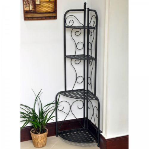 Antique Black Folding Indoor Outdoor Deck Home Plant Garden Corner Shelf Stand Trending Decor Home Design Diy Hanger Stand