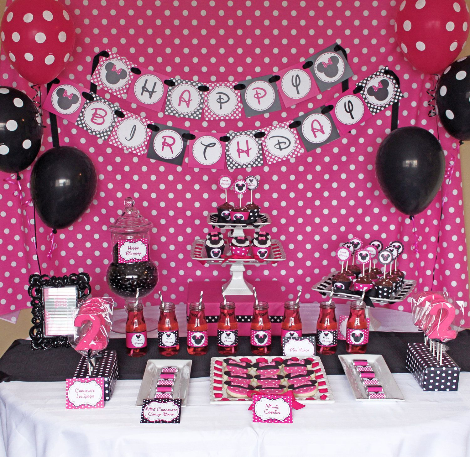 DIY Minnie Mouse Pink Deluxe PRINTABLE birthday party package