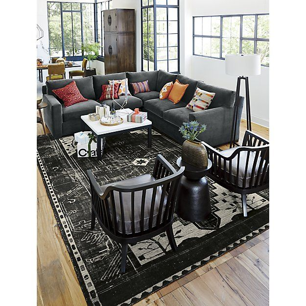 Anice Black Oriental Rug Crate And Barrel Living Room Furnishings Small Living Room Furniture Living Room Furniture Layout