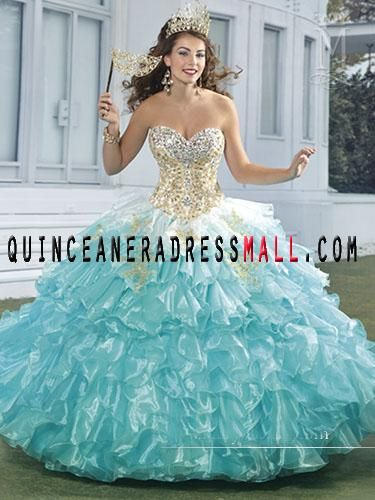 2015 white and aqua blue quinceanera dresses ball gown sweetheart ...