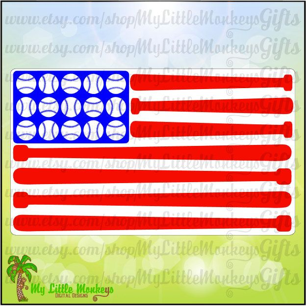 Baseball bat flag. Svg american