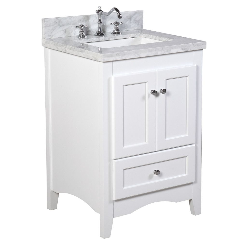This Bathroom Vanity Set Includes A White Shaker Style Cabinet Soft Close Drawer And Doors Italian Carrara M