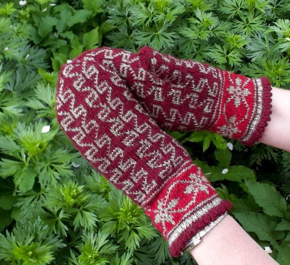 hand knitted wool bordo gray mittens by peonijahandmadeshop, $44.50