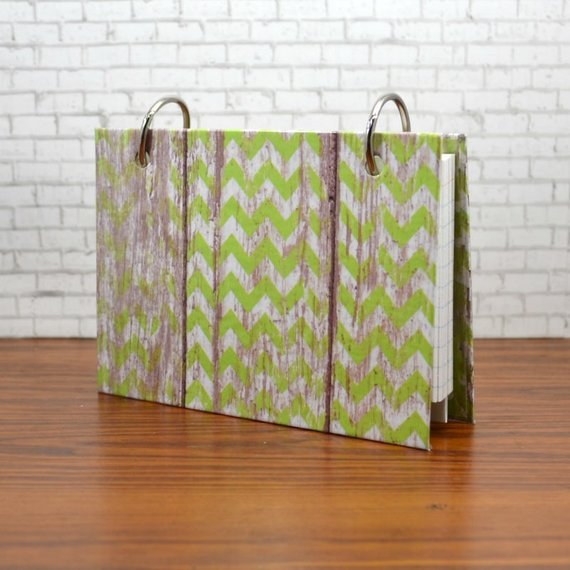 Index Card Binder, Bright Lime Green Weathered Barn Wood