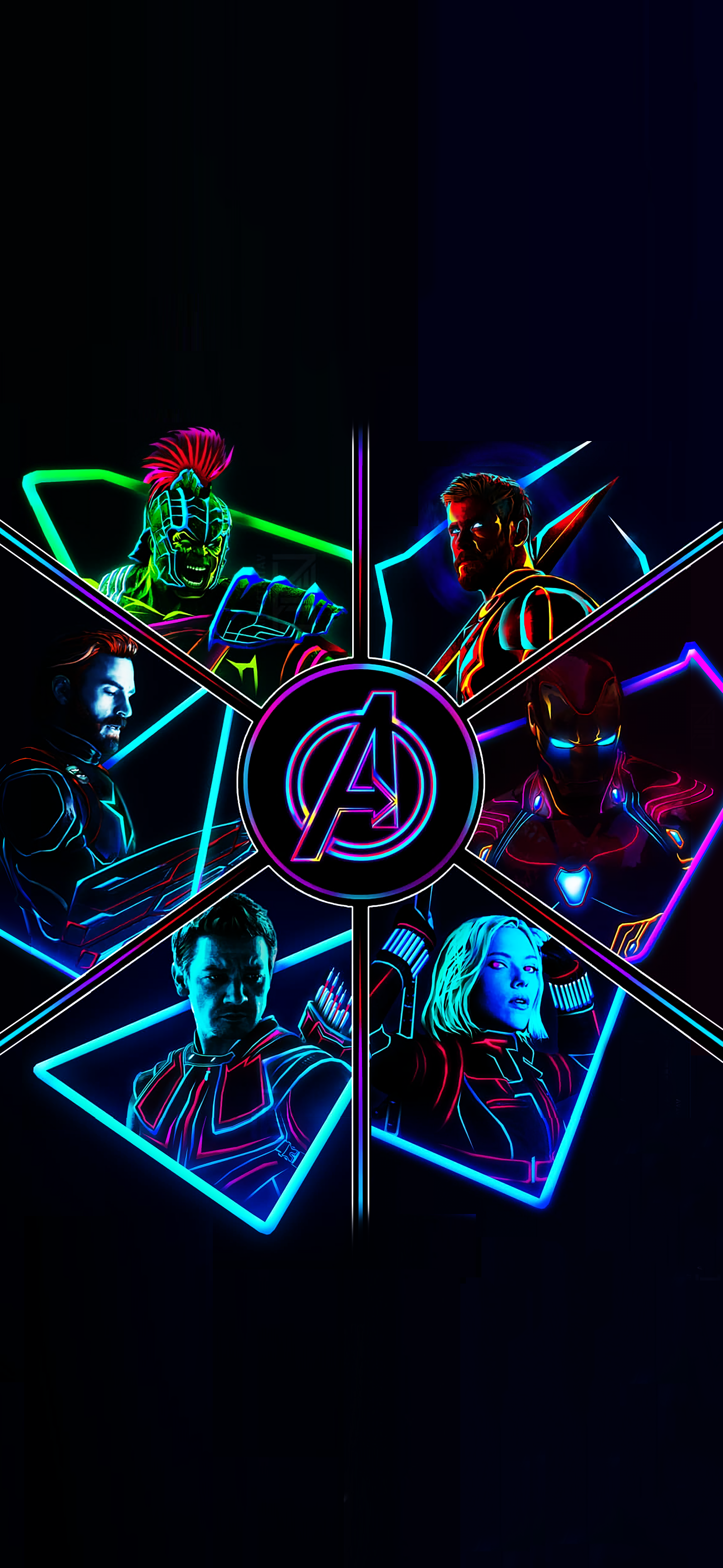 2012 Neon Avengers Full Res Phone Wallpapers
