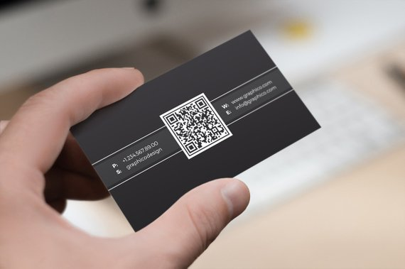 Simple QR Code Business Card Design Template - Photoshop