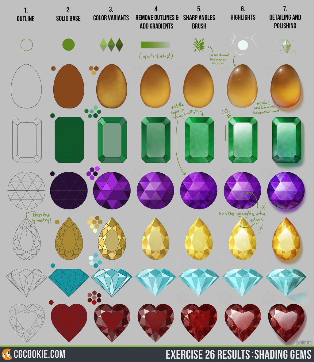 Exercise 26 Results: Shading Gems Step By Step By Cgcookieiantart On