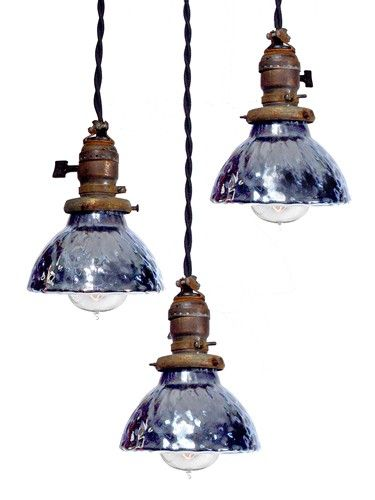 Mercury Glass Pendant Light Fixture Beauteous Minibluemercuryglasspendentlampsmatchingsetof3  Nice Decor Design Ideas