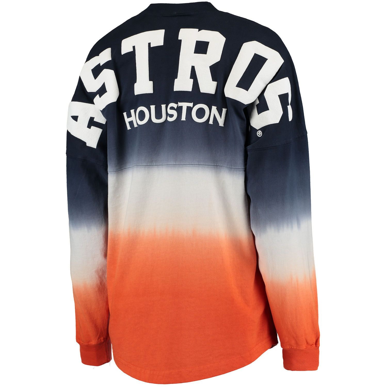 outlet store 51578 409cd Women s Houston Astros Navy Oversized Long Sleeve Ombre Spirit Jersey T- Shirt