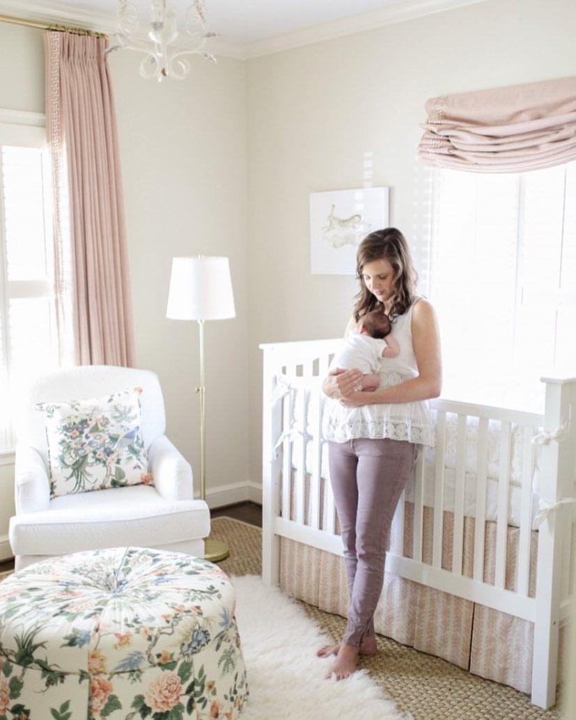 Baby girl nursery / nursery decor / round ottoman / traditional ...
