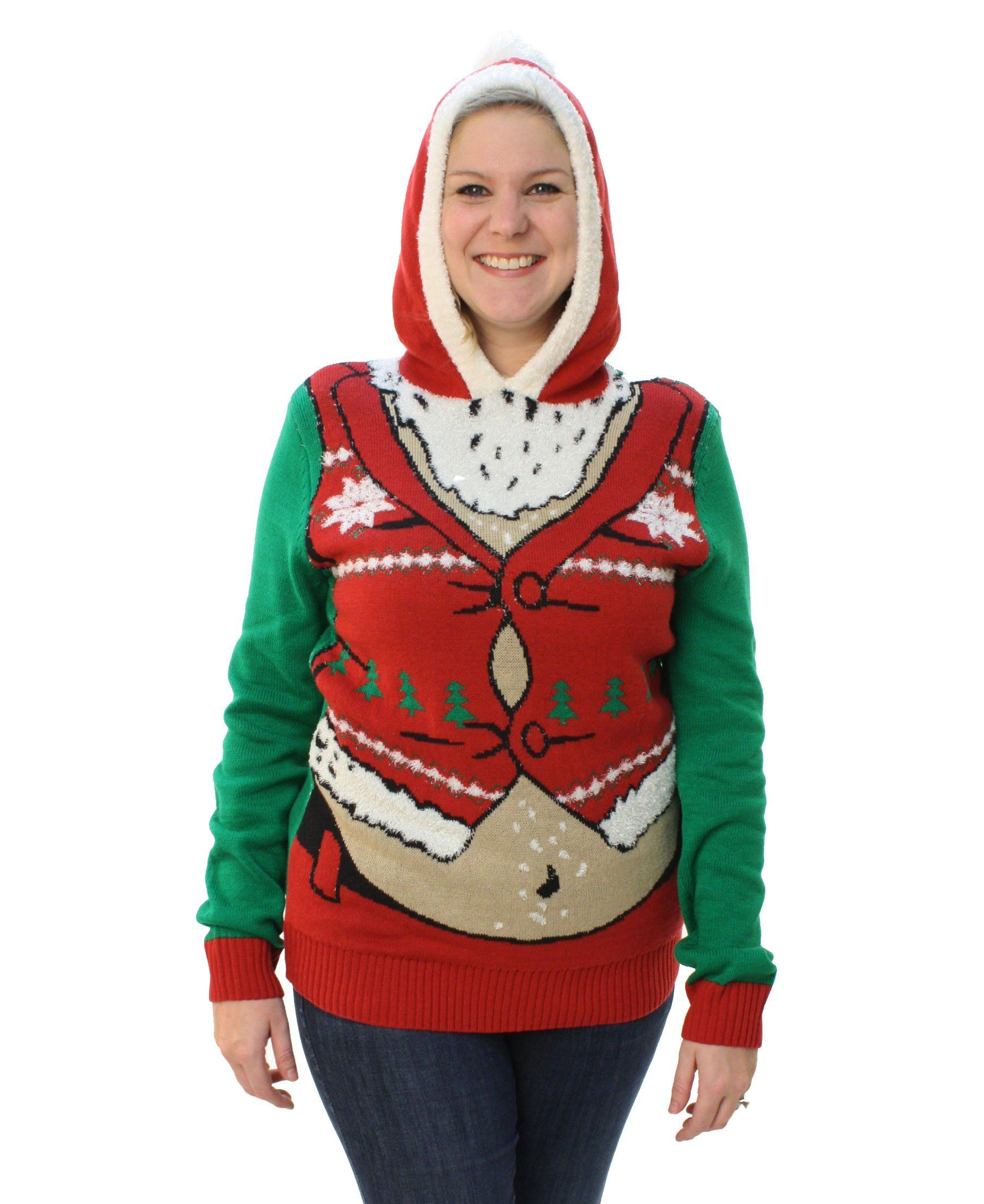 Ugly Christmas Sweater Plus Size Womens Fat Santa Hooded Pullover