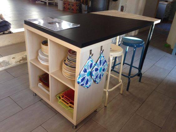 A new kitchen island with Kallax!-   A new kitchen island with Kallax! More  Source by madjela -