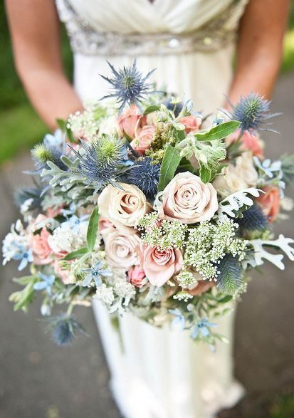 Color inspiration slate and dusty blue wedding ideas pinterest wild flower bouquet like the idea of thistles as a nod towards scottish heritage mightylinksfo
