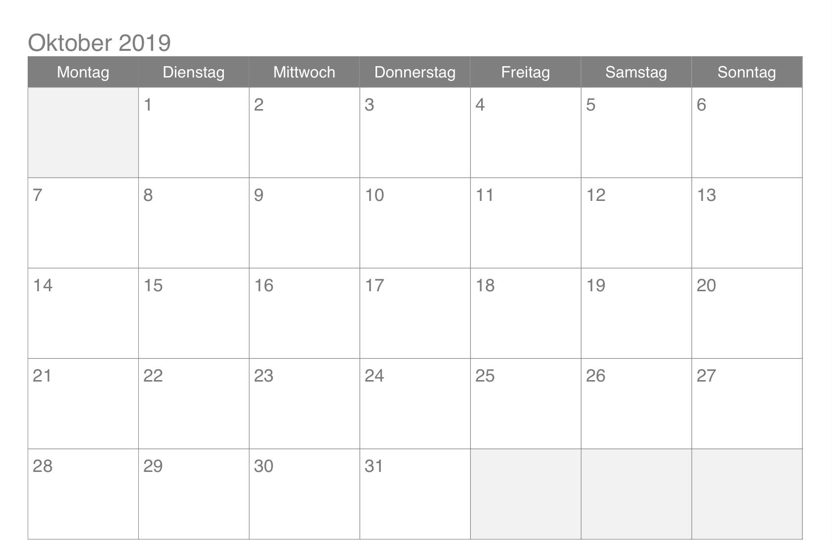 Oktober 2019 Kalender Pdf 2019 Kalender Kalender Kalender Druckvorlagen