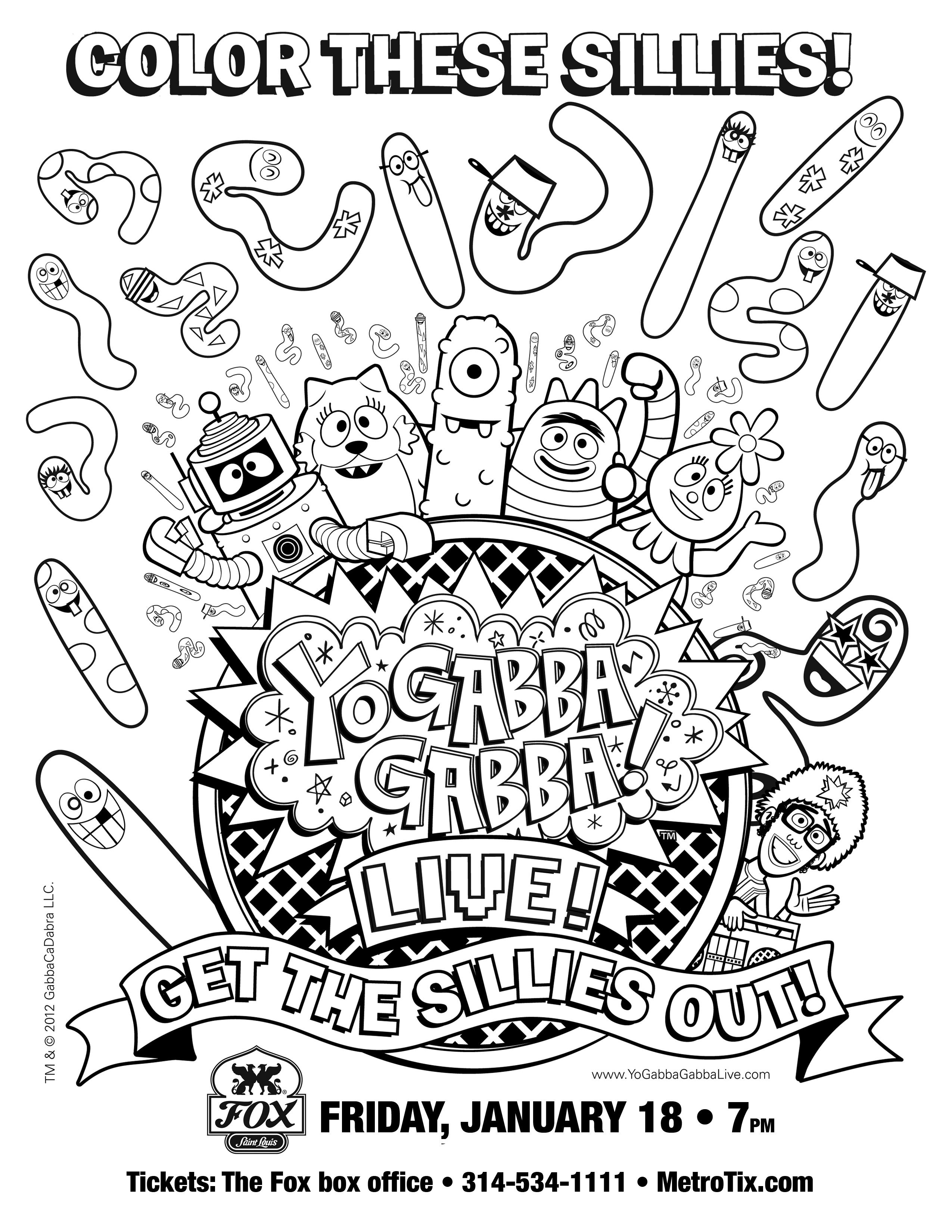 Color These Sillies Enjoy This Fabulous Coloring Sheet From Yo Gabba Gabba Yo Gabba Gabba Gabba Gabba Coloring Sheets [ 3300 x 2550 Pixel ]