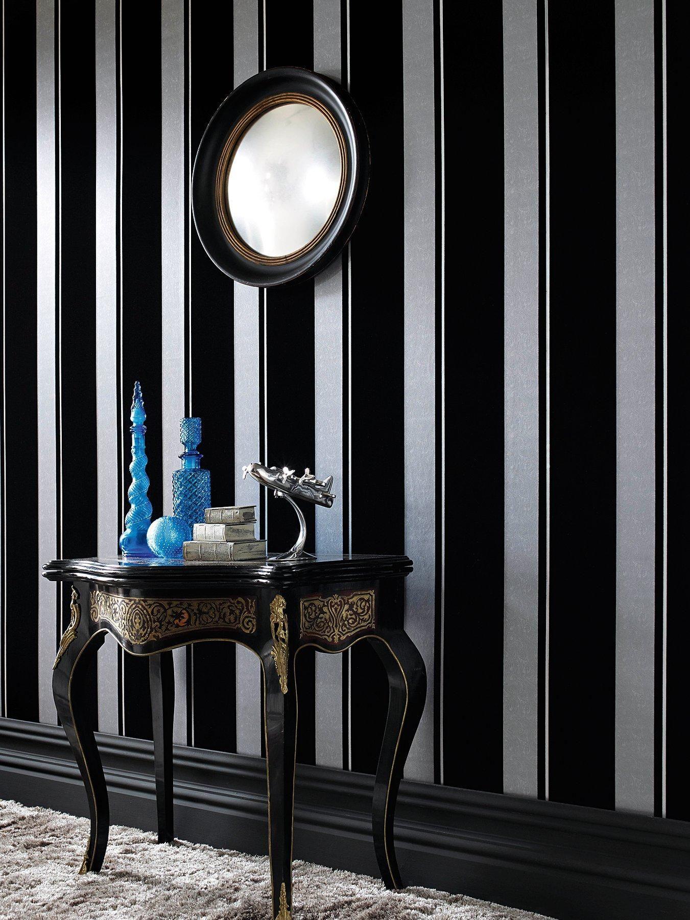 Laurence Llewelyn Bowen Flock Star Wallpaper Black Grey