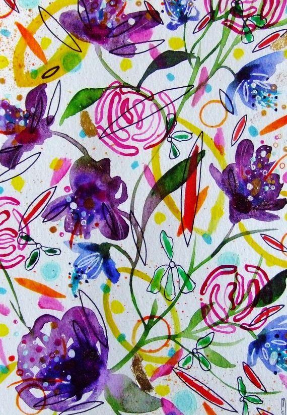 Fleurs Art Abstrait Peinture Contemporaine Botanique Decor Fleurs