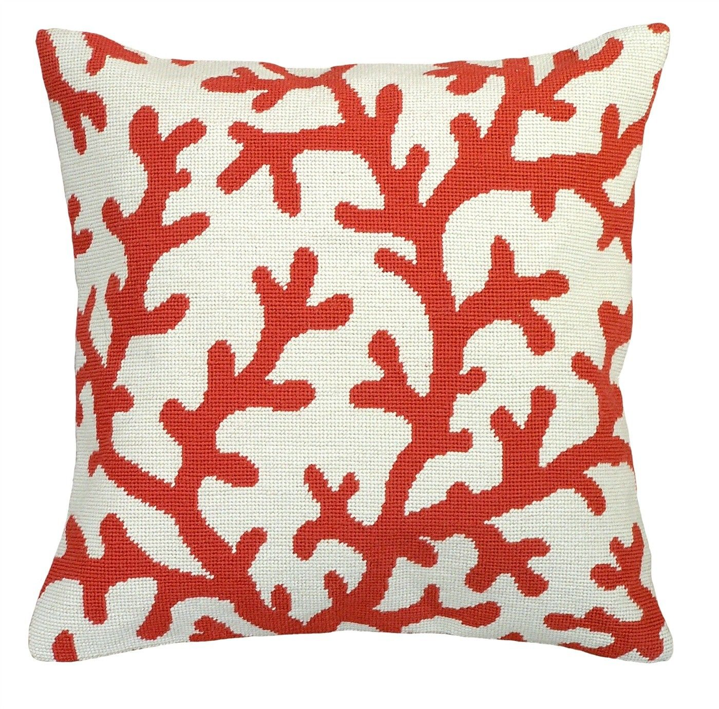 red coral design needlepoint pillow