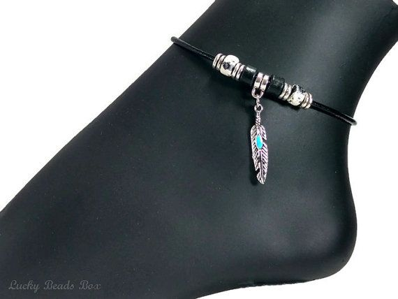 Leather Anklet Ankle Bracelet with Open Heart Charm UfFe1