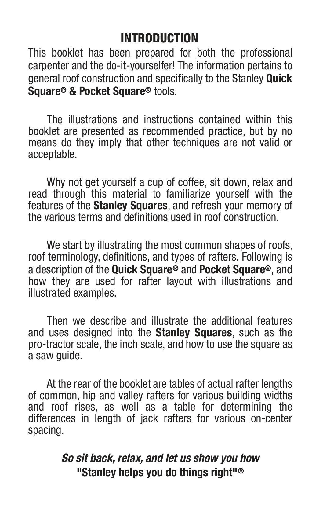 Quick Square Instruction Manual - Stanley-Quick Square Instruction Manual -  Stanley