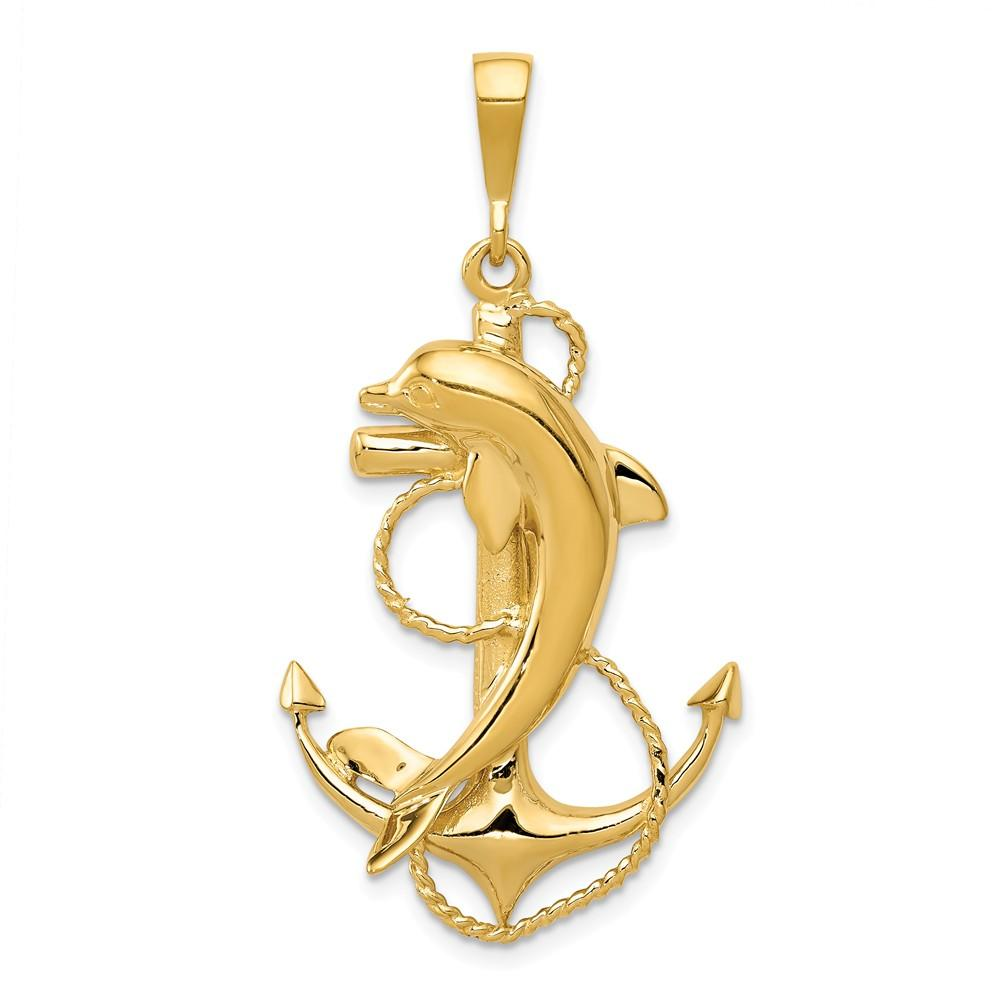 FB Jewels Solid 14K Gold Polished Anchor W//Rope Pendant