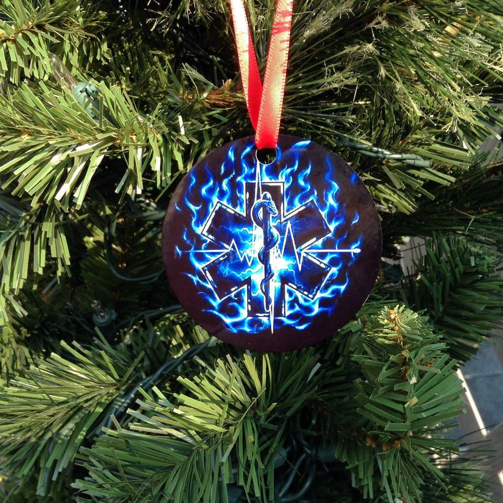 EMS and Nursing Gifts - Star of Life Christmas Tree Ornament   Ems week