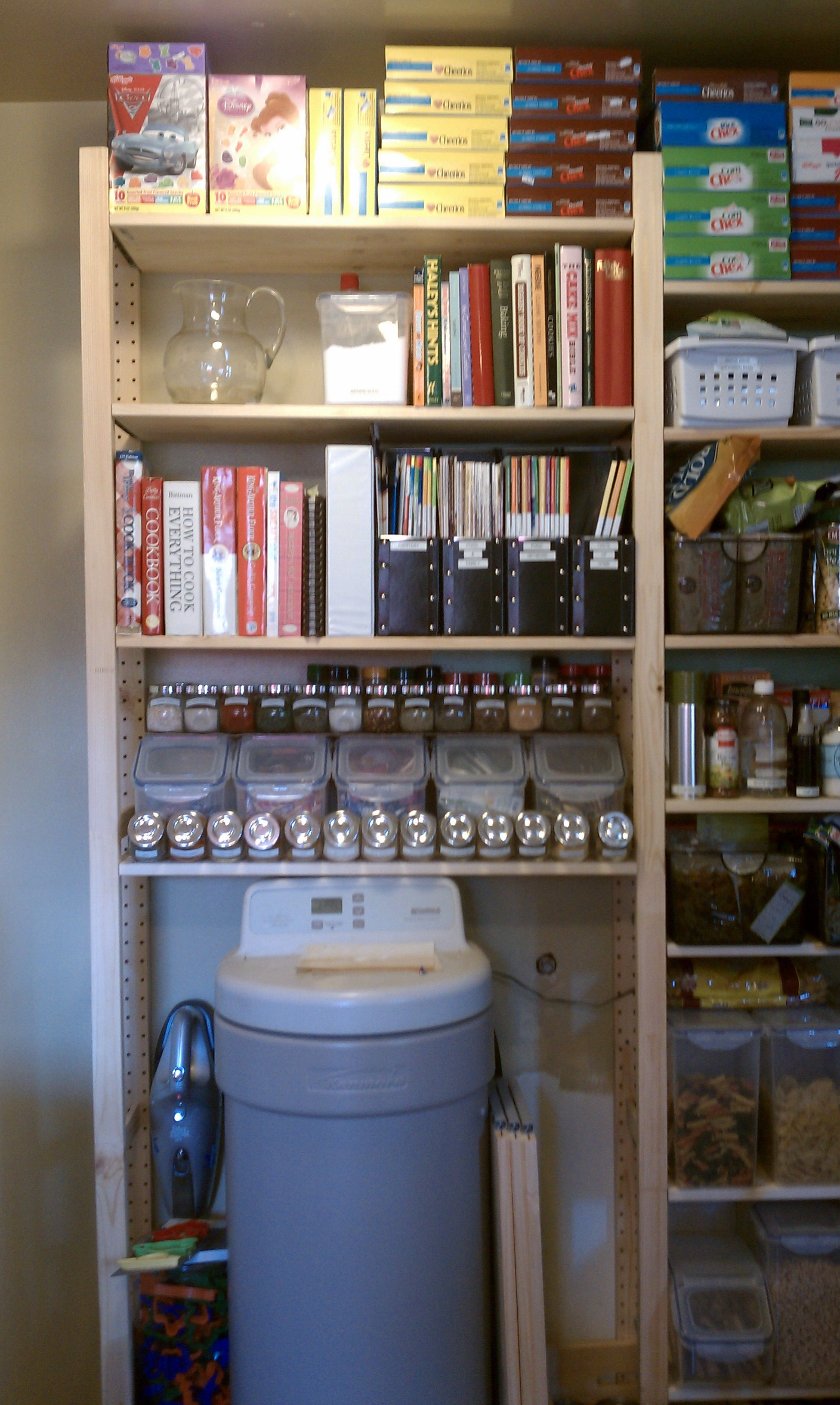 our pantry shelves ivar from ikea spice jars also from ikea tweaked a few things since. Black Bedroom Furniture Sets. Home Design Ideas