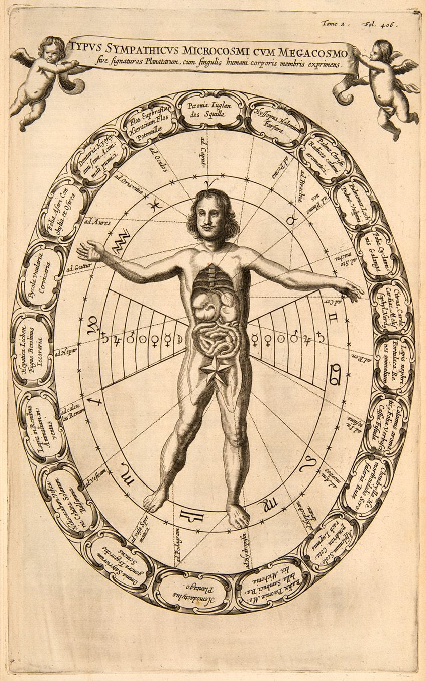 Sympatheticconnectionsbetween the body and the universe, from Mundis Subterraneus (The Underground World) by Athanasius Kircher, 1665