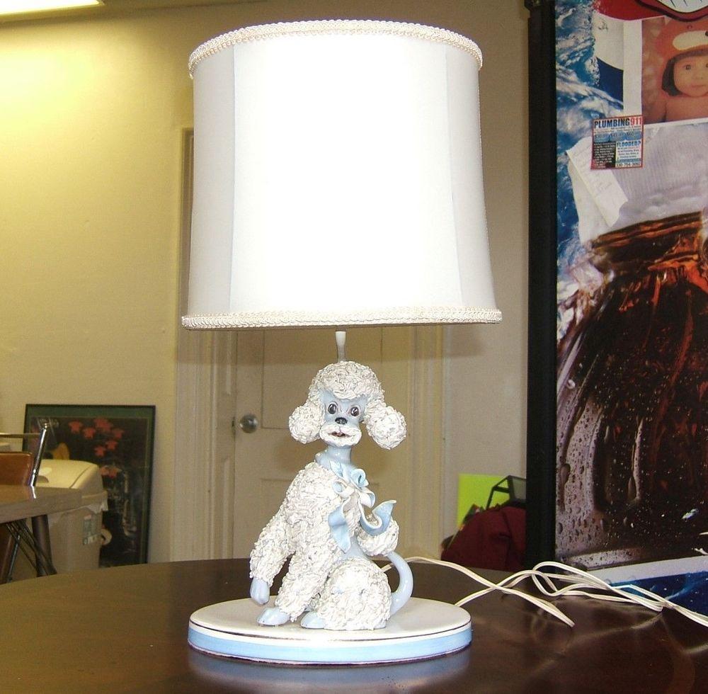 Vtg 50s white spaghetti poodle table lamp large w blue accents vtg 50s white spaghetti poodle table lamp large w blue accents geotapseo Images