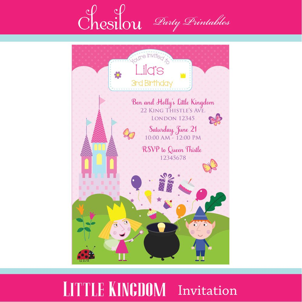 Customized Ben And Holly S Little Kingdom Digital Printable Birthday Invitation Ben And Holly Printable Birthday Invitations Party Invitations Kids