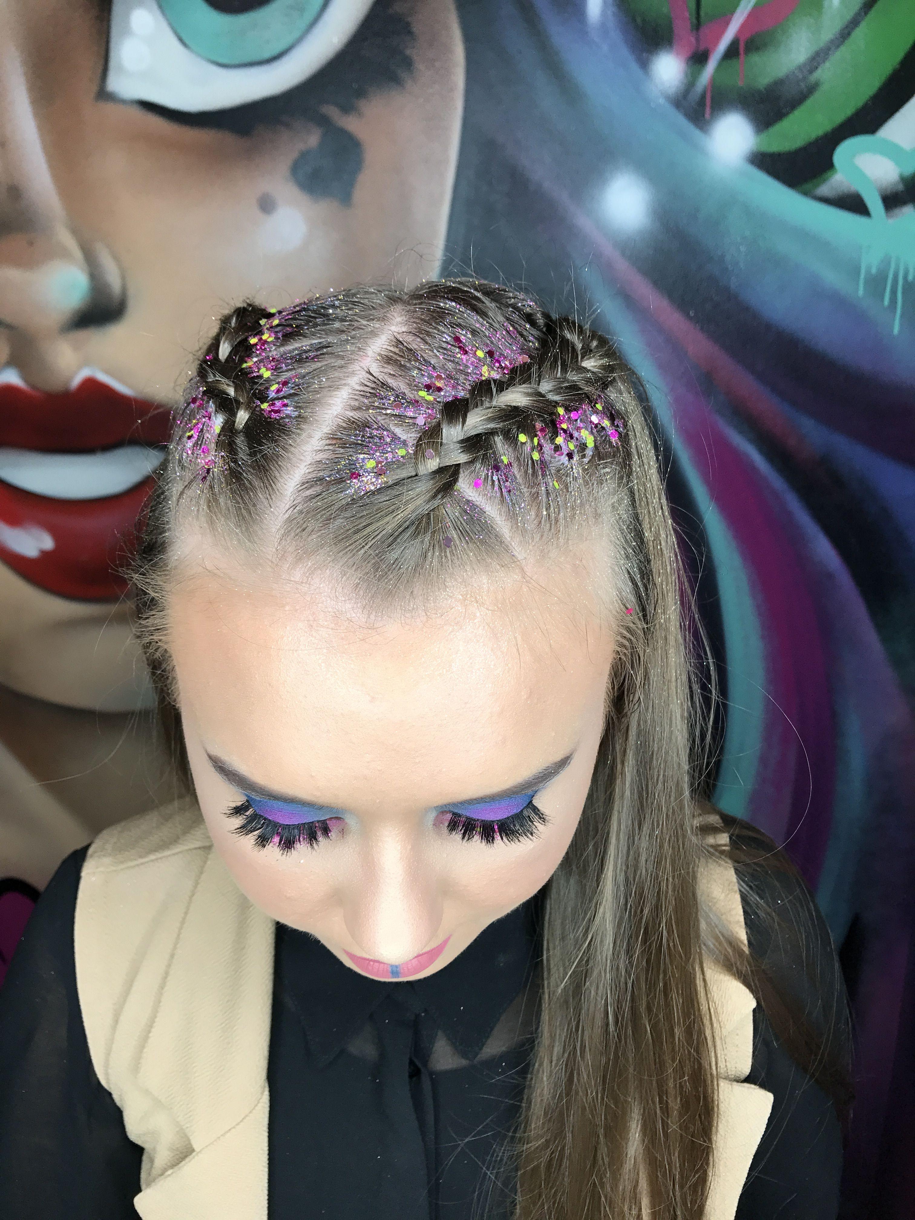 Festival hair braids glitter braids purple and pink
