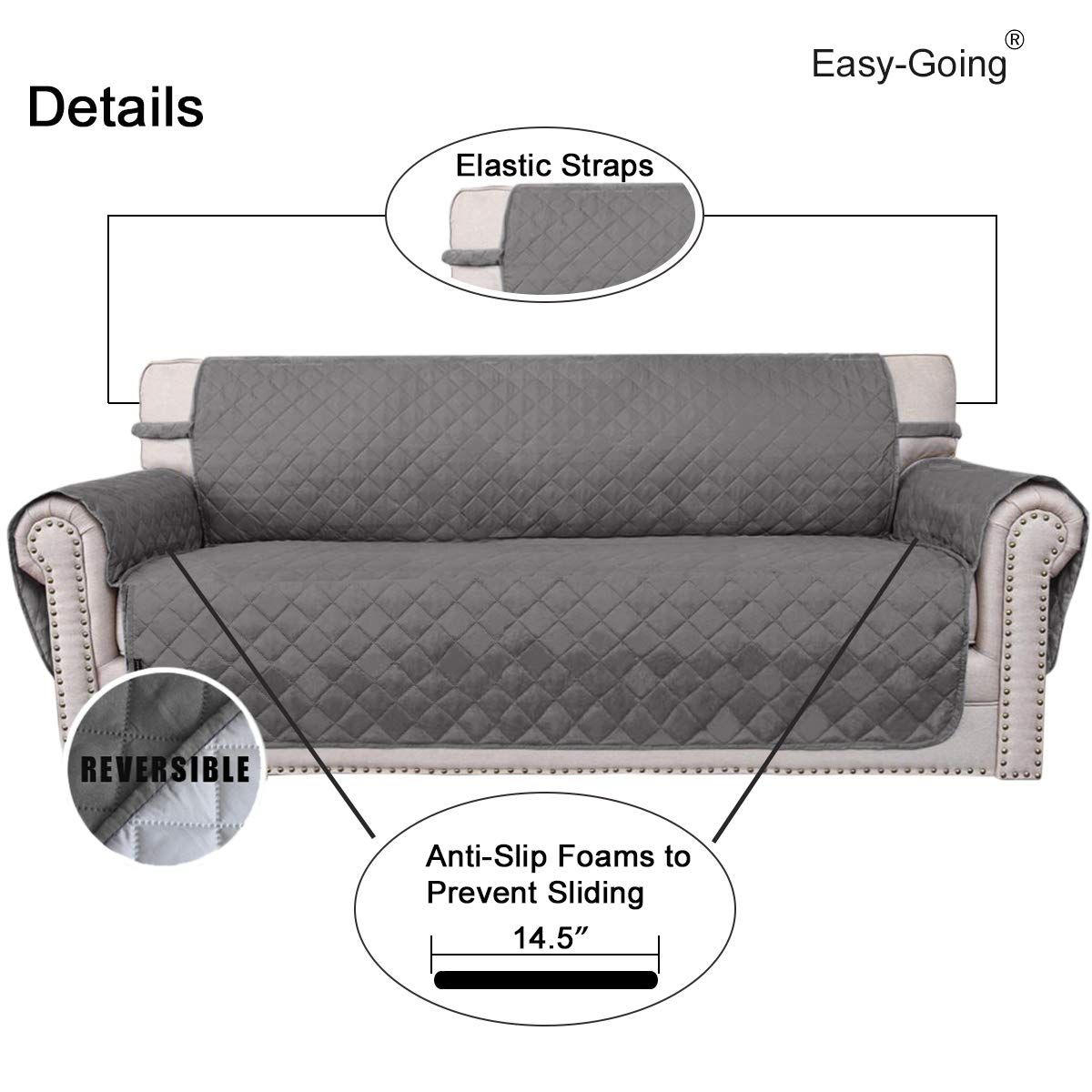 Easygoing Sofa Slipcover Reversible Sofa Cover Furniture Protector Antislip Foams Couch Shield Water Resistan Slipcovered Sofa Furniture Protectors Sofa Covers
