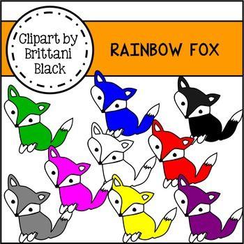 Rainbow Fox Clipart