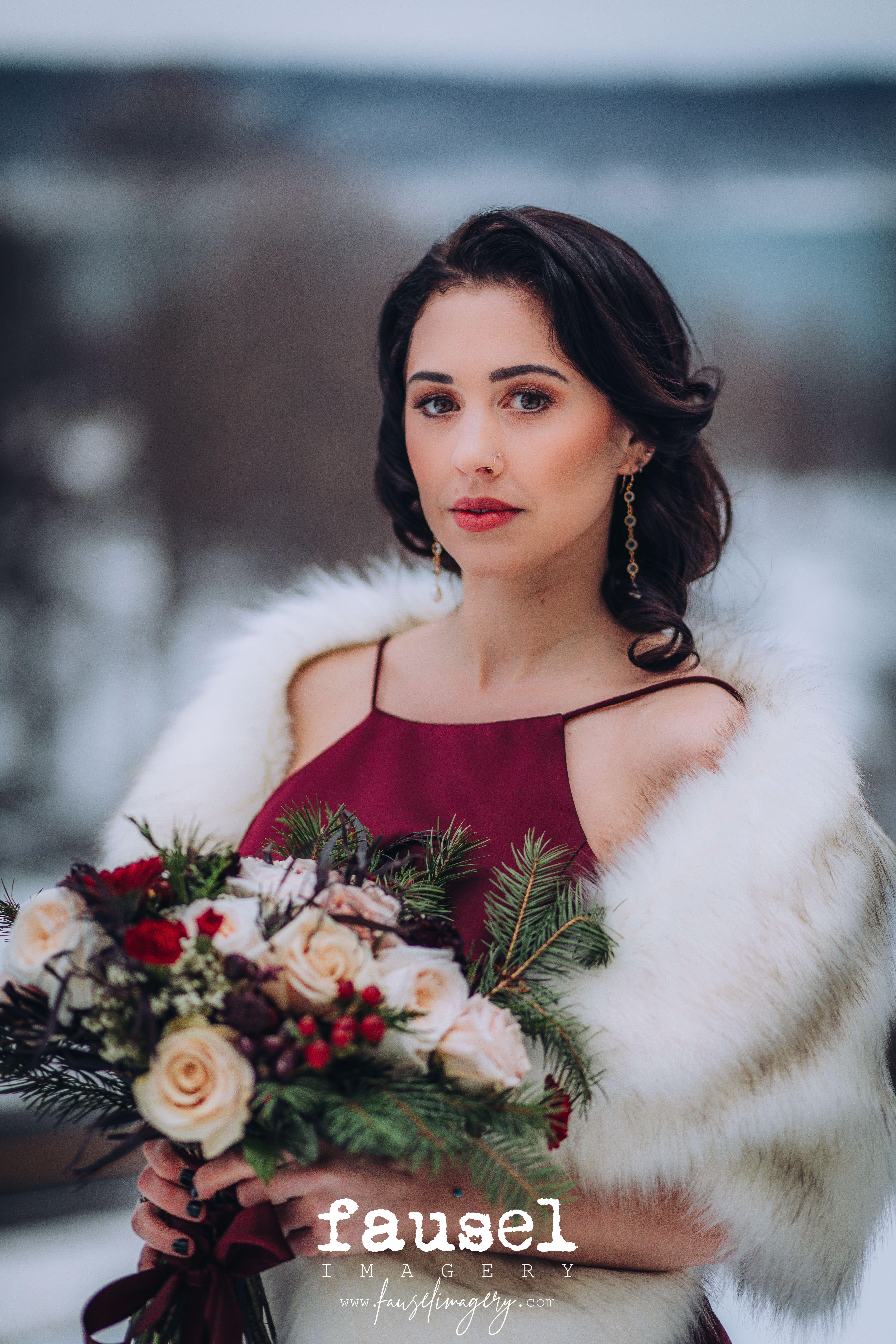 Vintage Winter Bridesmaid cayugalake