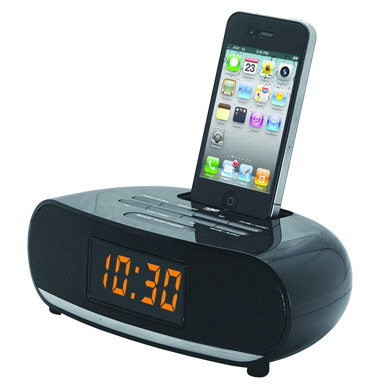 Naxa PLL Digital Alarm Clock Radio with Dock for IPod and