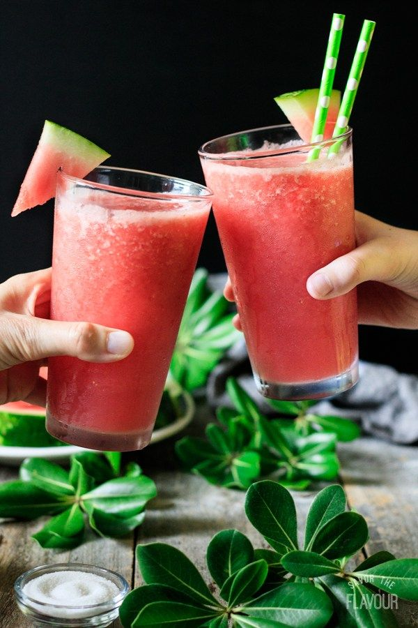 Watermelon Slushie Mocktail #nonalcoholicsummerdrinks