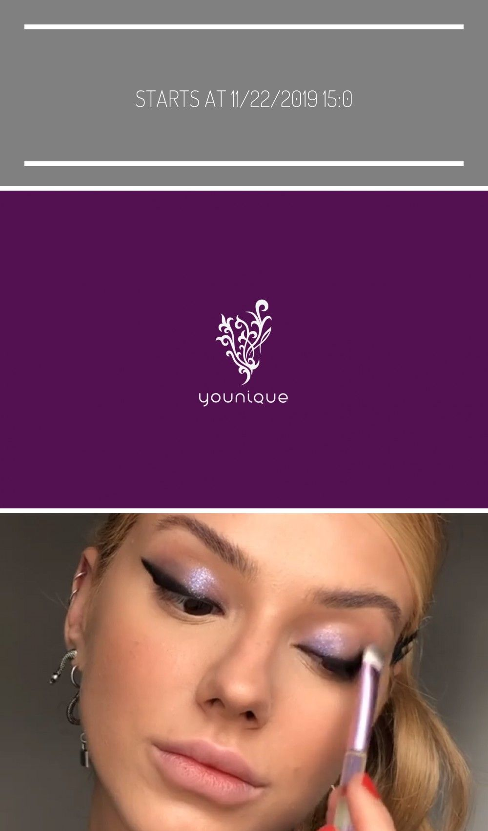 Starts at 11/22/2019 1500 MEZ makeup videos Crazy Purple Week Holiday Promotion