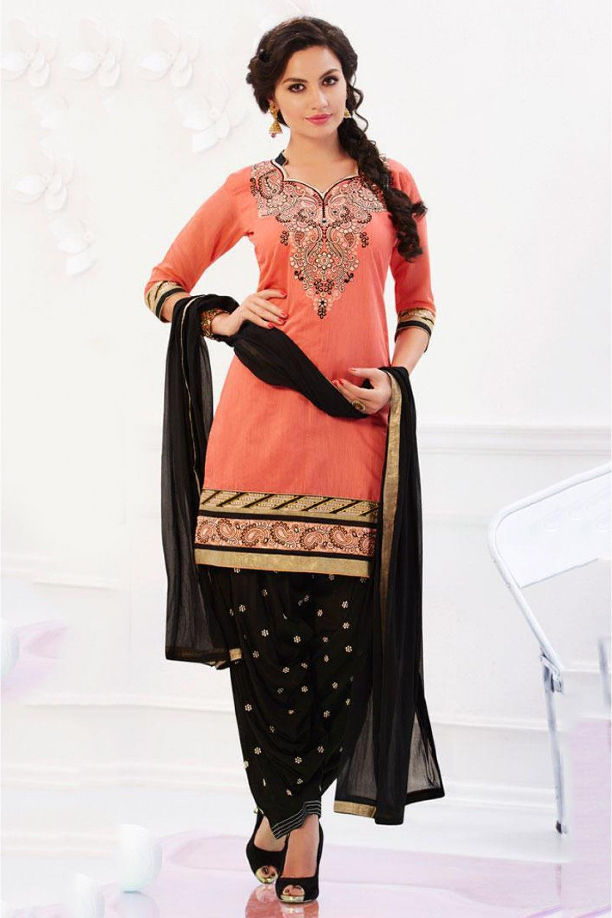 Banarasi Chanderi Unstitched Patiala Suit In Black and Peach ...
