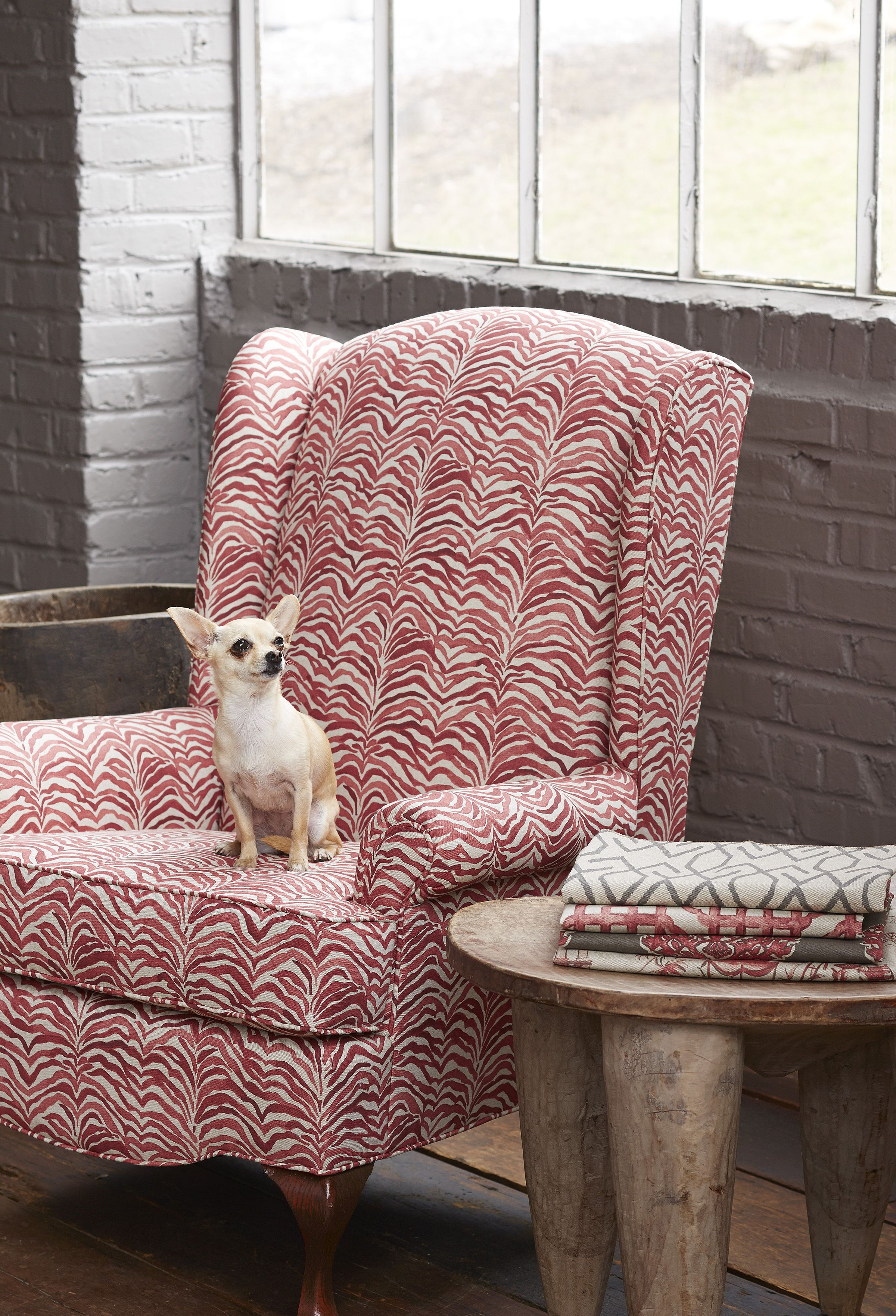 Lacefield Geranium Textile Collection   Serengeti Coral Upholstered Wing  Chair #coral #textiledesigner #madeinthesouth Www.lacefielddesigns.com